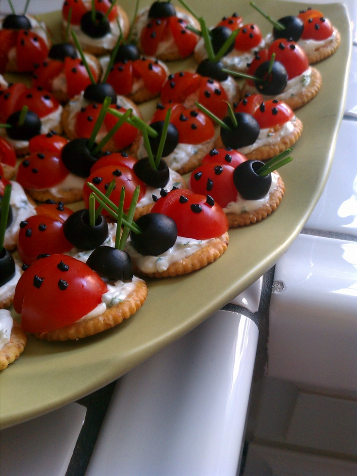 i made these! ladybug appetizer crackers from taste of home. original recipe here: http://www.tasteofhome.com/Recipes/Ladybug-Appetizers