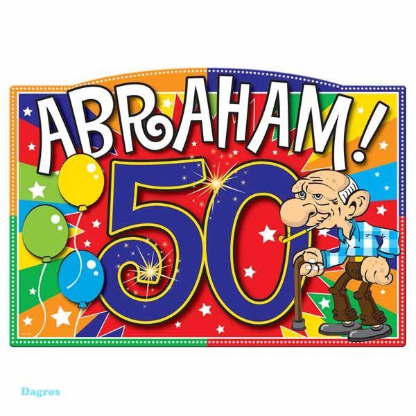 Deurbord Abraham  Een knallend deurbord die zeer zeker opvalt voor iedereen die bij u aan de deur komt! Nu zal het niemand meer ontgaan dat u een Abraham in huis heeft! Afmetingen bord: 48x39 cm.  EUR 4.63  Meer informatie