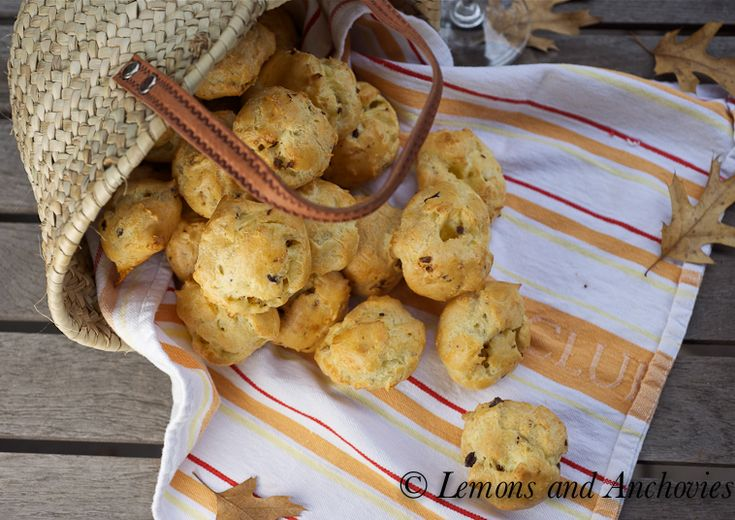 Gougeres with Anchovies: Black Olives Fair, Lemons, Anchovi Style, Anchovies Style, Sun Dry Tomatoes, Styles, Originals Recipes, Olives Fair Easy, Gougéres