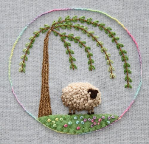Stumpwork Sheep Embroidery Pattern by Theflossbox on Etsy. 3 simple stitches- so effective!