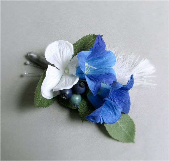 """Enduring"" Boutonnieres, Blue Silk Bellflower / Campanula flower and White Hydrangea boutonnieres with accents of white feathers and blueberries, wedding flowers, groom, groomsmen, ushers #PosiesPearls #somethingblue"