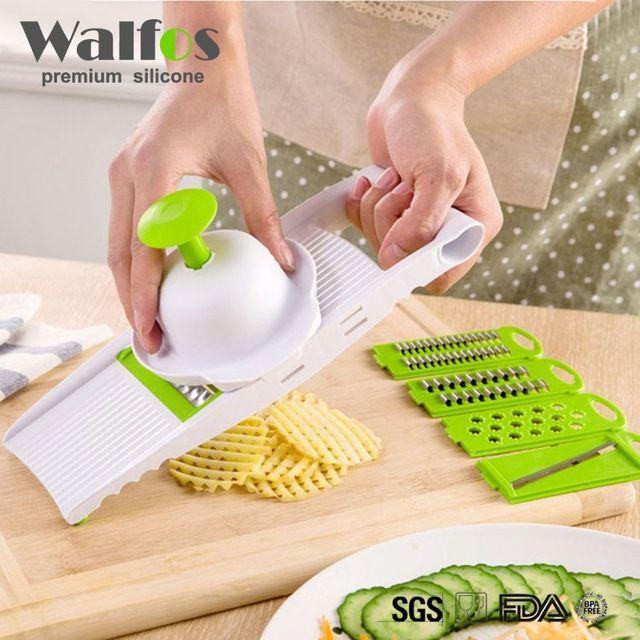 Mandolina Slicer Cortador de Verduras con 4 Hoja de Acero Inoxidable Rallador Zanahoria Cebolla Dicer máquina de Cortar de Cocina Accesorios