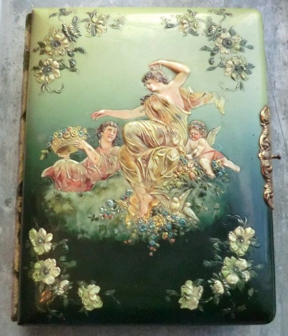 Victorian photo album with amazing celluloid women and cherub picture