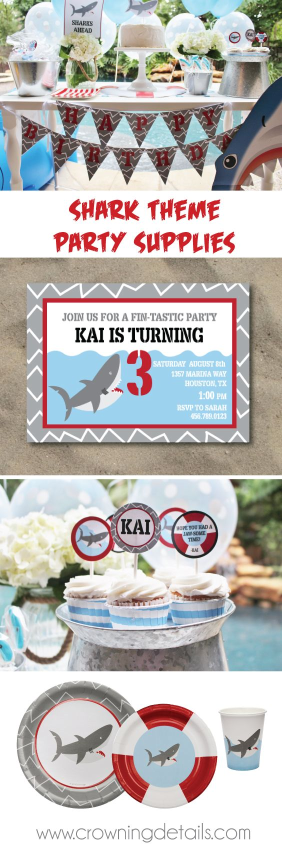 Shark party supplies for a fin-tastic birthday party! Shop the collection in our online store.  shark paper plates