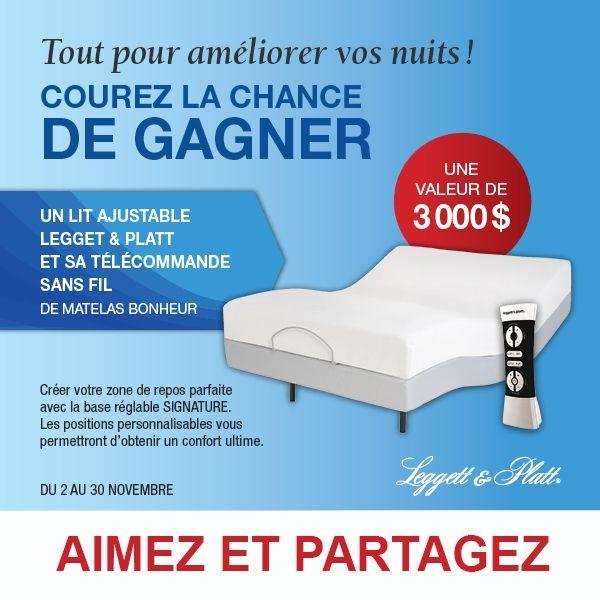 CONCOURS GAGNEZ Un Lits Ajustabe Leggett & Platt