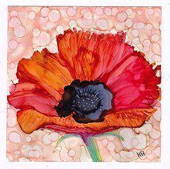 Alcohol Ink Art - Red poppy  by Kitty Van den Heuvel