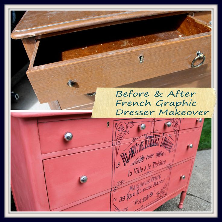 Coral Painted Dresser With French Graphic. 109 best Stenciling images on Pinterest