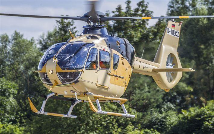 Download wallpapers Eurocopter EC135, civil aviation, flight, Airbus H135, Airbus