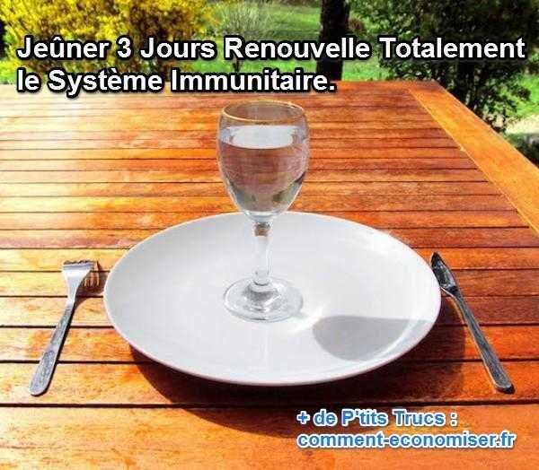 Selon les études scientifiques, les effets du jeûne seraient bénéfiques chez des adultes bien portants, des personnes âgées ou même des personnes malades. Découvrez l'astuce ici : http://www.comment-economiser.fr/jeuner-3-jours-renouvelle-totalement-systeme-immunitaire.html?utm_content=buffere9f06&utm_medium=social&utm_source=pinterest.com&utm_campaign=buffer