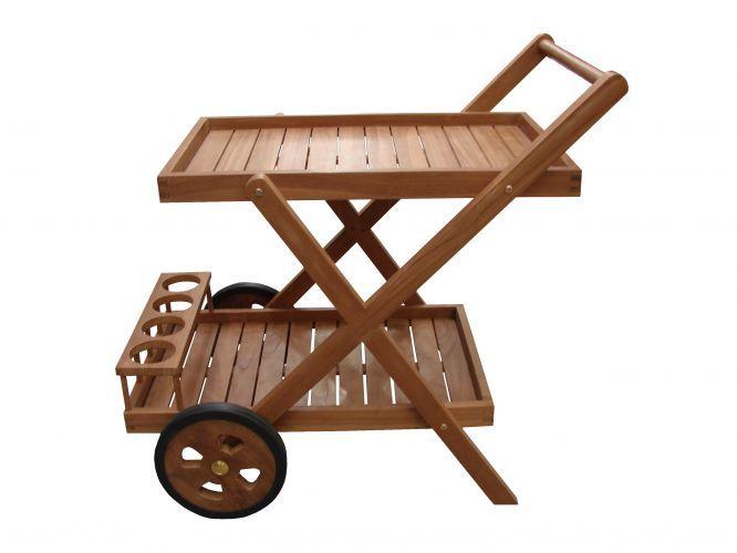 Comercializado pela <a href=http://www.espacotil.com.br/ target=_blank><u>Espalço Til</u></a>, o carrinho Bar Folding de madeira teca mede 56 cm por 80 cm por 86 cm. Preço: R$ 1.650,00<br><br><i>Preços pesquisados em dezembro de 2010</i>