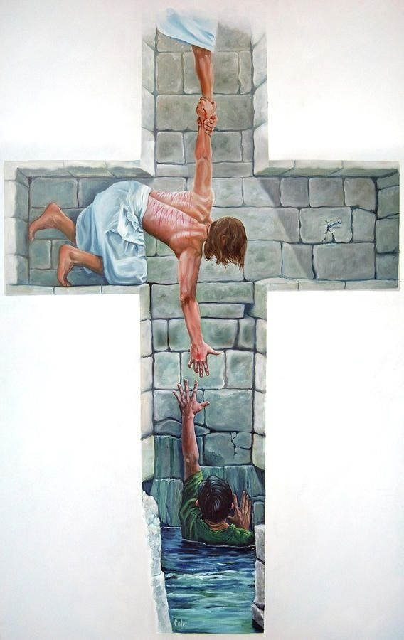 "Isaiah 41:13 For I, the Lord your God, will hold your right hand, Saying to you, 'Fear not, I will help you. ' (""All you have to do is reach up!"" Amen) It's a beautiful picture illustrating how God sent his Son to save. :)"