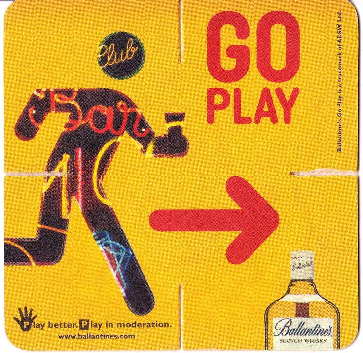 Ballantine's Whisky Scotch Coaster Barware Go Play