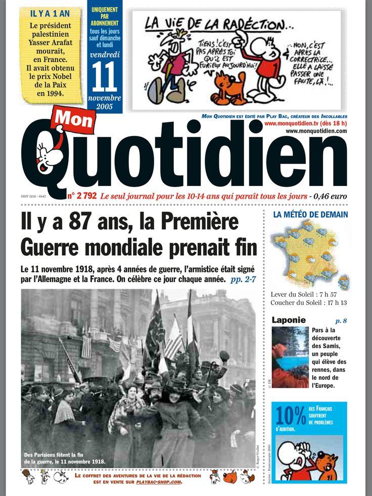 Mon Quotidien du 11 novembre 2005 avec des fiches exposées ...