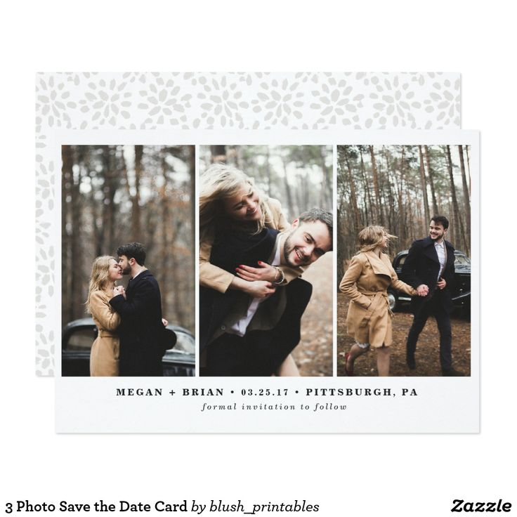 3 Photo Save the Date Card Gorgeous, on-trend save the date announcements featuring your favorite engagement photos. Lovely typography and all black text makes this design truly stand out. Inspired multi-photo engagement photos, these save the date cards are classic and classy with a chic yet traditional touch.