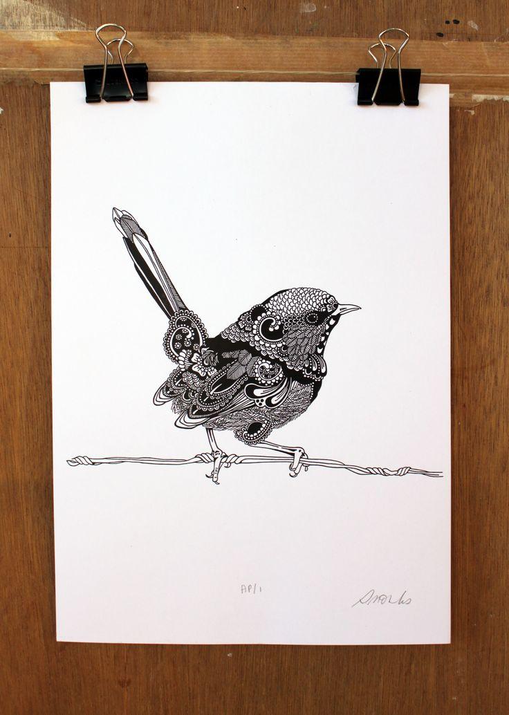 elementedenartsearch erika walter eden ink drawing by rosalind monks fairy wren art ideas. Black Bedroom Furniture Sets. Home Design Ideas