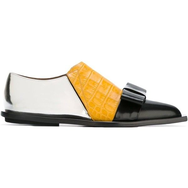Marni Origami Bow Loafers (£610) ❤ liked on Polyvore featuring shoes, loafers, multicolour, pointed toe loafers, flat shoes, pointed toe bow flats, colorful flats and marni shoes