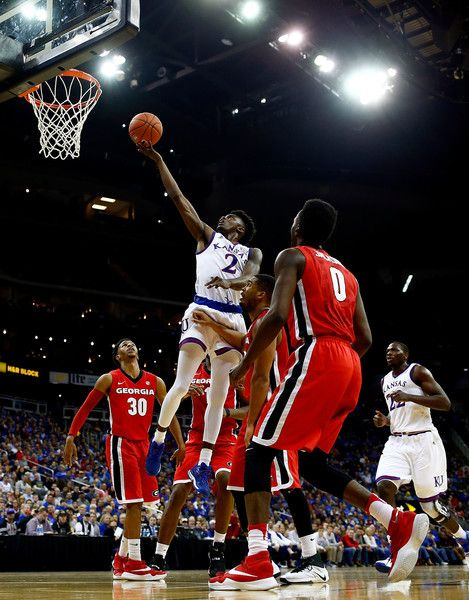 Lagerald Vick #2 of the Kansas Jayhawks shoots during the CBE Hall of Fame Classic game against the Georgia Bulldogs at the Sprint Center on November 22, 2016 in Kansas City, Missouri.
