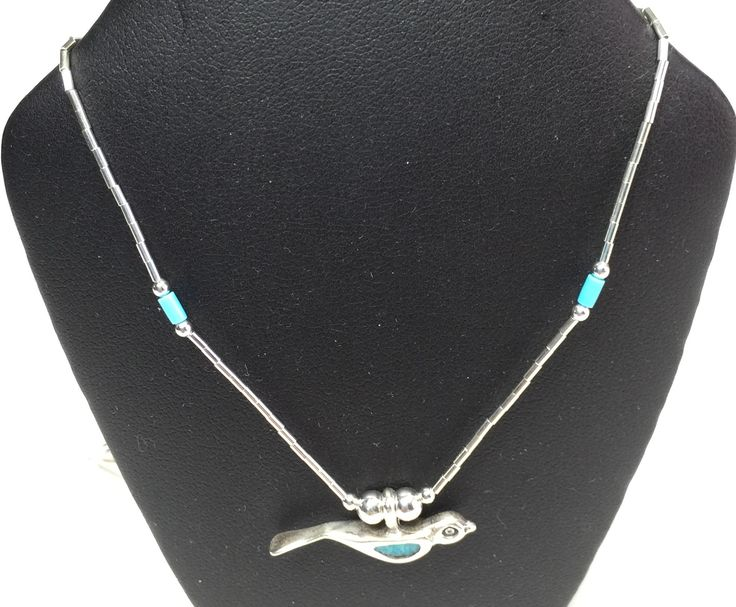 """21"""" Sterling Silver and Turquoise Peace Bird Necklace and Earrings Set"""