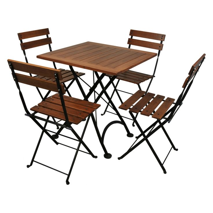 Outdoor Furniture Designhouse French Cafe Bistro Chestnut Wood 5 Piece Square Folding Patio Dining Set - 4113CW-5502CW(4)-BK