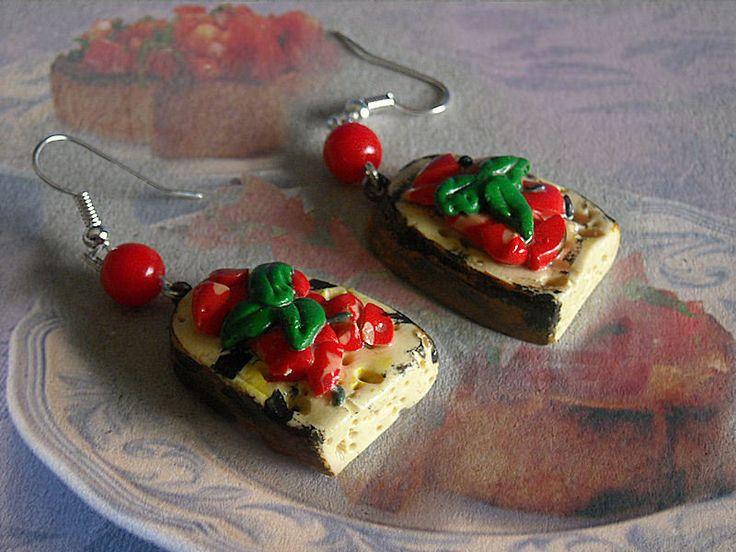 orecchini bruschetta con pomodori in fimo, by Velours Noir Crèations, 7,00  su misshobby.com
