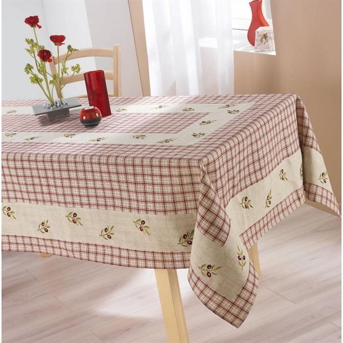 Nappe de table 150x240cm OLIVE ROUGE Lin/Polyester - Achat / Vente Nappe de table 150x240cm - Cdiscount