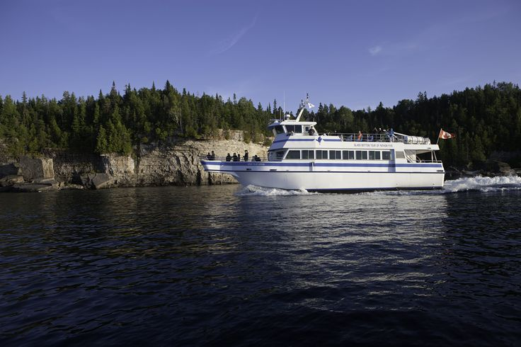 Sunset Cruise aboard the Great Blue Heron takes you along the rugged escarpment of the Bruce Peninsula to Cave Point. It then returns to Little Tub Harbour as the sun sets behind the islands surrounding Tobermory. There is nothing quite like it