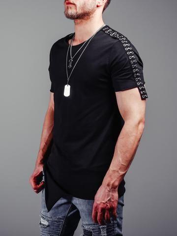 3f2c09842b5f Asymmetric cut t-shirt shoulder stripes 4260 in 2019   Men's Summer Fashion    Shirts, Men, Mens fashion summer outfits