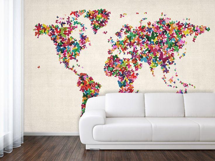 18 best map wallpaper images on pinterest world map mural wallpaper butterflies art map of the world by mapsinternational 65000 gumiabroncs Choice Image