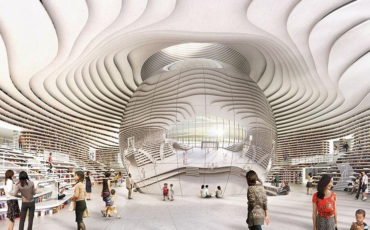 Tianjin, #Chine  zoom sur une #bibliotheque pas comme les autres!   #architecture