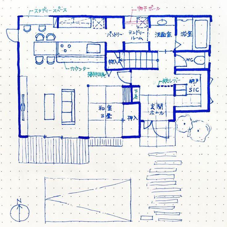 . #kazuhaマイホームプランニング . #南玄関 1階約18坪。 . こうやって何回も間取りを書くと、 本当に自分のやりたいことがわかってスッキリします . 和室は4.5畳にして、床上げして収納にしようか悩みます… お布団収納した時、湿気大丈夫かな〜? . ちなみに2階は寝室+WIC、子供部屋洋室2部屋という私の中での絶対条件を乗せる予定です❣️ . 30坪の家を目指したいと思います . #家事動線 #夢のマイホーム #マイホーム #マイホーム計画 #マイホーム計画中 #マイホーム計画中の人と繋がりたい #間取り図 #間取り図大好き #新築一戸建て
