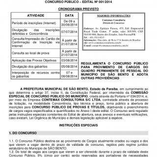 Prefeitura Municipal de São Bento Secretaria Municipal de Administração Concurso Público 2014 1 Concurso Público 2014 PREFEITURA MUNICIPAL DE SÃO BENTO SECR. http://slidehot.com/resources/edital-concurso-publico-da-prefeitura-municipal-de-sao-bento-pb.59803/