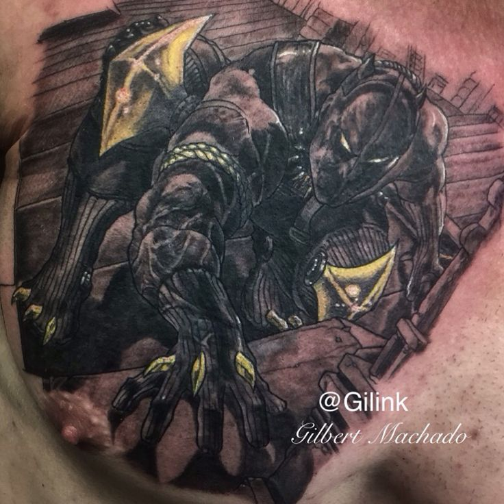 Black panther marvel comics super hero black and gray for Marvel sleeve tattoo black and white