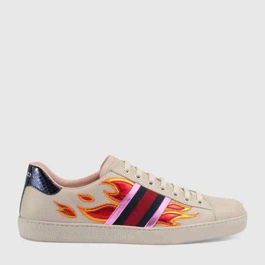Gucci Ace low-top sneaker with flames