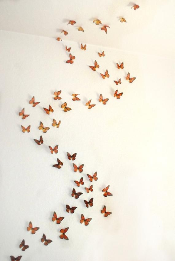 3d Wall Art Realistic Monarch Butterflies Set Of 100 Etsy