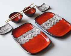 Sushi Serving Set, Set for Two, Red Sushi Set, Ceramic Sushi Dishes, Ceramic…