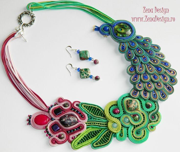 Zena Design – Unique handmade jewelry! Set bijuteriirealizat integral manual. Colierul este cusut cu fir transparent, tehnnica soutache – broderie realizată din şnur şi diverse pietre semipr…