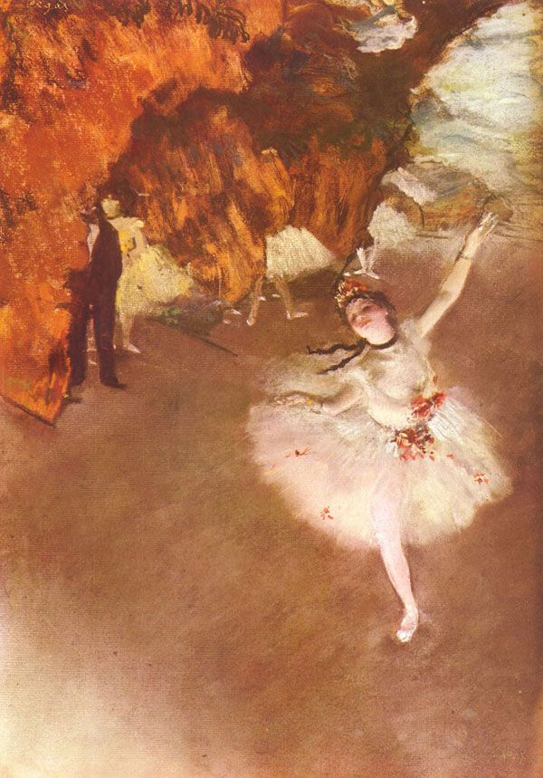 A Primeira Bailarina, de Edgar Degas A bailarina parece que voa e o ambiente em torno dela é inspirador e implacável ao mesmo tempo. É possível ver na obra uma espécie de negação ao seu estilo impressionista, um momento de quebra de dogmas da técnica que garantiu o sucesso de Degas. Isso fica aparente com os tons quentes. Onde ver: Museu d'Orsay, Paris, França