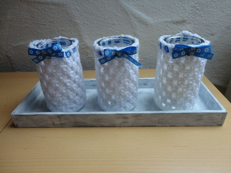 Kerzen Tablett Holz Handwerk massiv Handarbeit stabil 3er Glas Teelicht umhäkel…