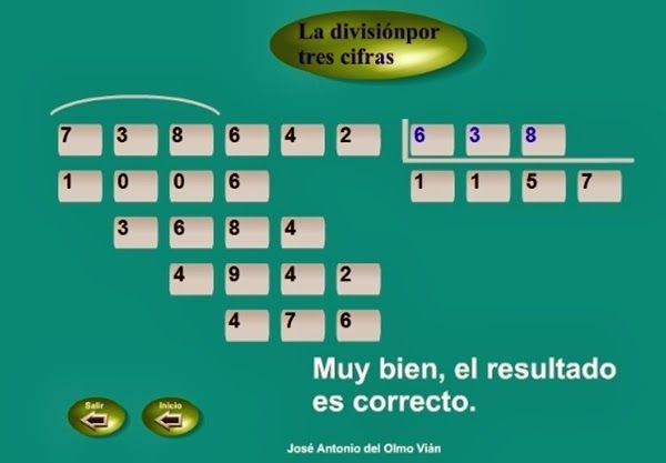 """""""La división por tres cifras"""", de José Antonio del Olmo Vián, es una sencilla y eficaz aplicación para el aprendizaje del algoritmo de la división por 3 cifras. Reproduce el procedimiento convencional y, si te equivocas, te ayuda: no te deja escribir la cifra hasta que escribas la correcta."""