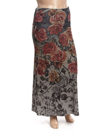 Love this Red & Orange Roses Maxi Skirt - Plus on #zulily! #zulilyfinds