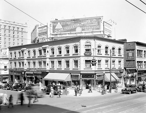 Northwest corner of Granville and Georgia streets, Tuesday 26 July 1932 Source: Photo by Stuart Thomson, City of Vancouver Archives #99-4225 #vancouver