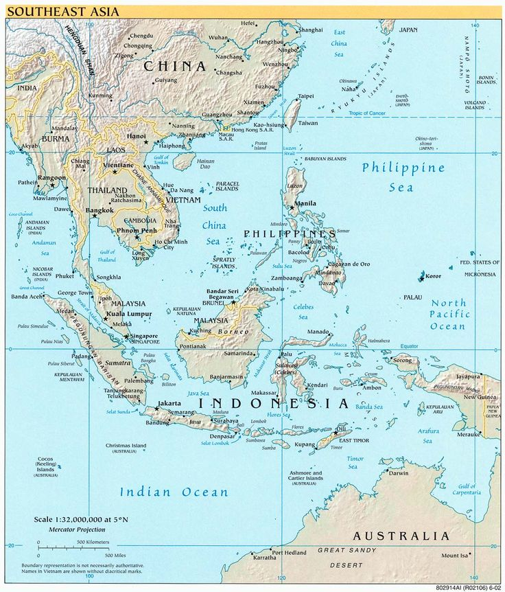 Detailed political map of Southeast Asia for free.