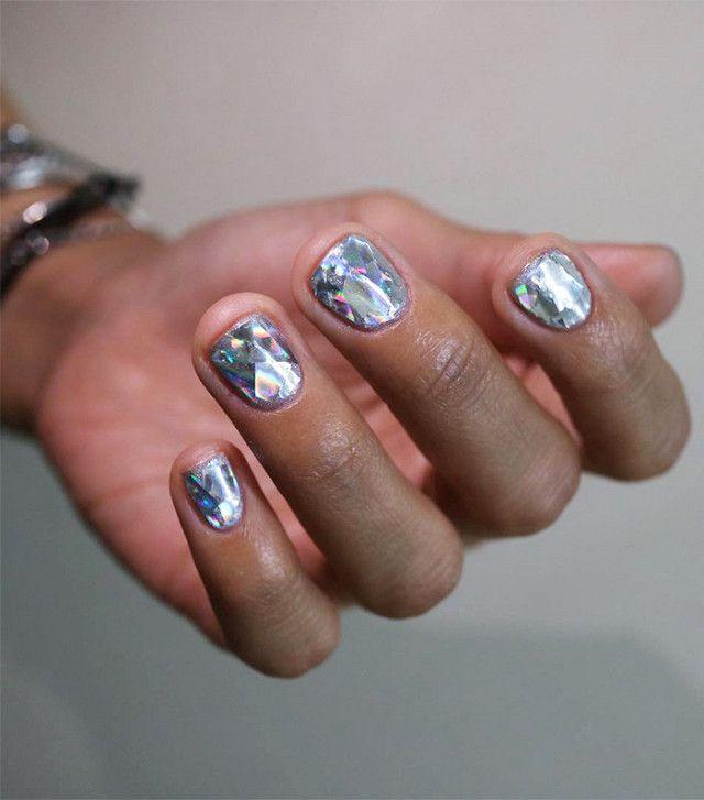 Diamond Nail art trend from Korea in silver