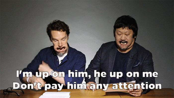And they got really into the dancing. | Here's Benedict Cumberbatch And Benedict Wong Hilariously Attempting To Sing Beyoncé With Mouthguards In