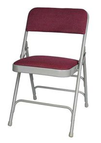 Metal Folding Chair, Fabric Seat and Back, Wine.  $25.75 ea for 104 or more. chairs-and-tables-r-us.com
