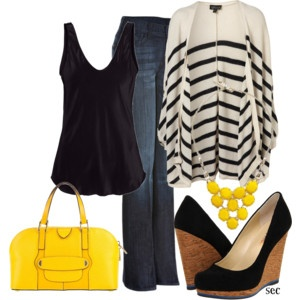 Fall: Style, Summer To Fall, Color, Great Outfits, Fall Outfits, Transitional Outfits, Yellow Pur, Yellow Accent, Black