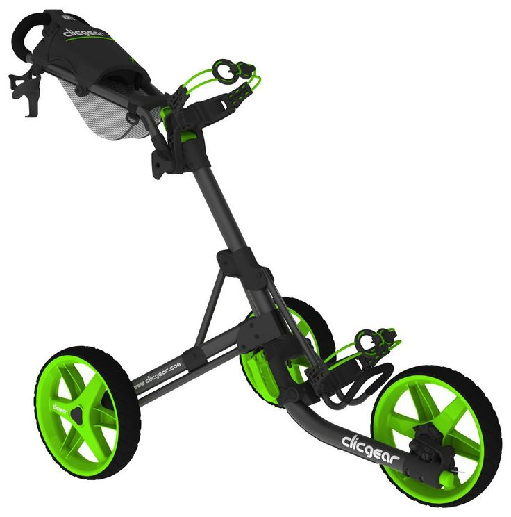 Weighing just 18 pounds these model 3.5+ golf push carts by Clicgear feature a positive lock hand brake and maintenance free airless tires