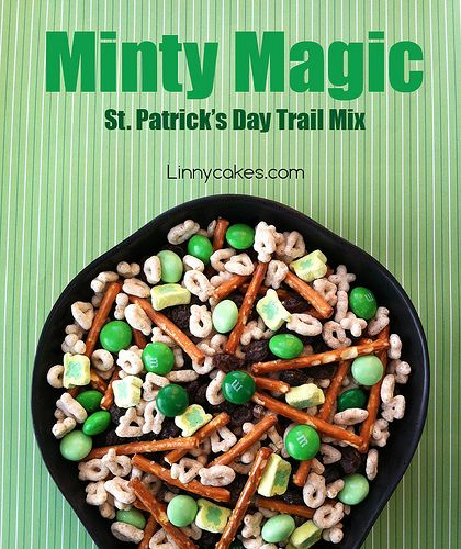 My Valentine's Day Trail Mix was such a hit, I decided to create a St. Patrick's Day trail mix too! St. Patrick's Day Trail Mix - Minty Magic: Mint M&M's Pretzel Sticks Raisins Lucky Charms Cer...