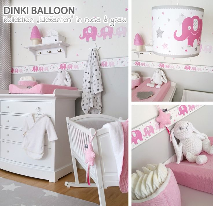 dinki balloon babyzimmer 39 elefanten 39 rosa grau baby. Black Bedroom Furniture Sets. Home Design Ideas