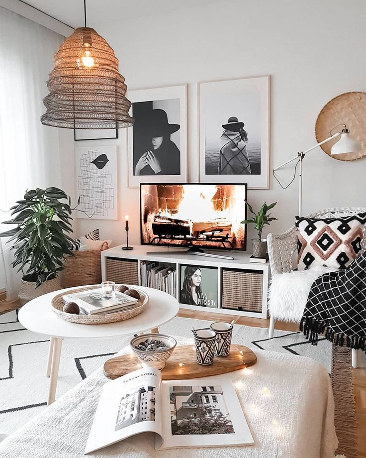 Monochrome | Bohemian | Scandi on Instagram: – A mix of mid-century modern, bohemian, and industrial interior style. Home and apartment decor, decorat…